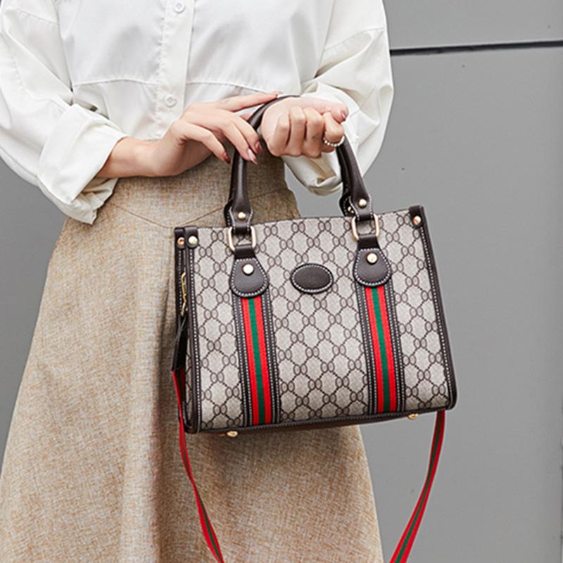 Handbag womens large capacity European and American fashion bag 2021 new fashion backpack with color ribbon