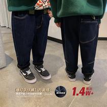辰辰妈2020年冬季新款儿童牛仔裤洋气潮宝宝长裤男童加绒加厚裤子