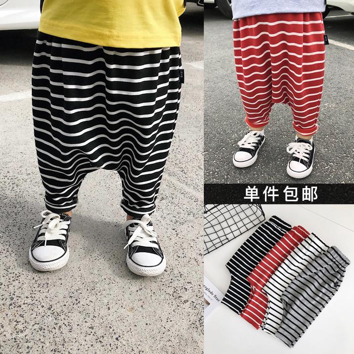 Чэнь Чен Ма Ин детское на мальчика Брюки-штаны для галстуков детские полосатый принт Большие брюки PP дикие 3 года детские Свободные брюки