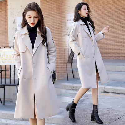 百搭时髦小个子外套女秋冬2019年新款韩版长款宽松麂皮绒大牌风衣