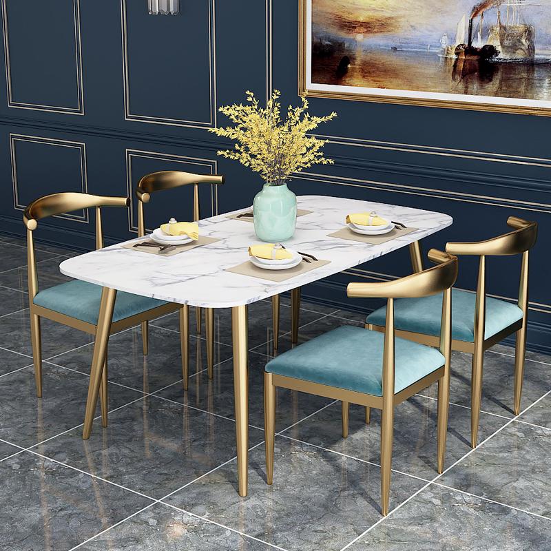 热销3件需要用券北欧大理石餐桌椅组合长方形小户型后现代简约家用轻奢饭桌1.8米
