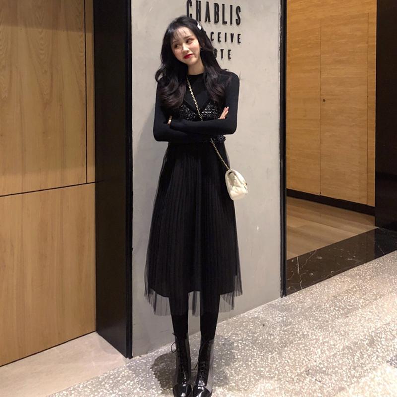 小香风连衣裙女秋装2019年新款网纱拼接中长款气质V领吊带裙子潮