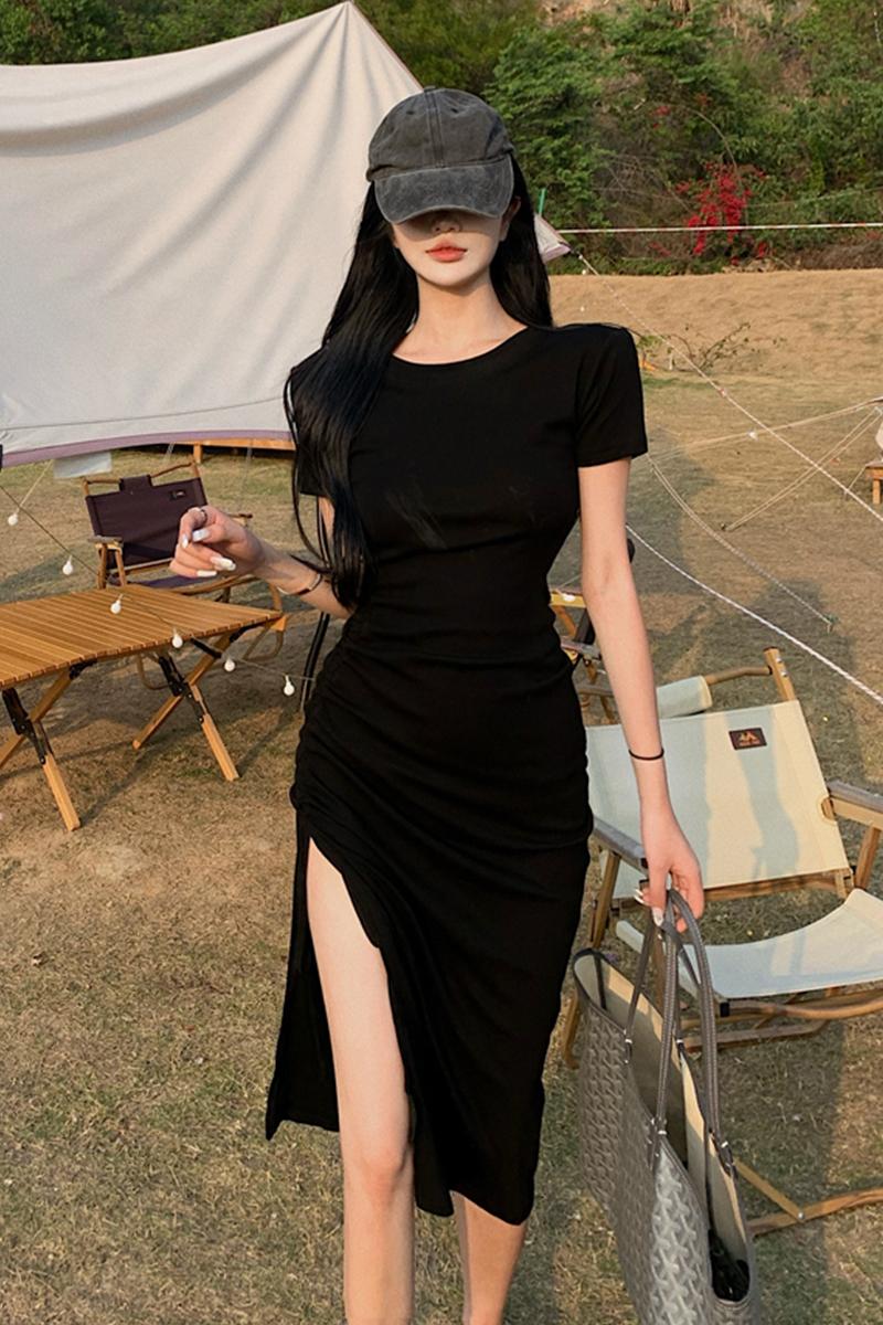 タオバオ仕入れ代行-ibuy99 紧身裙 连衣裙御姐轻熟风女夏包臀黑色长裙气质紧身薄款性感抽绳开叉裙子