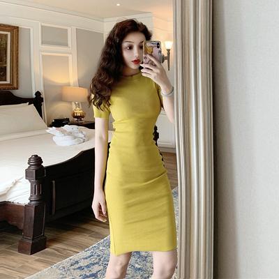 优雅复古连衣裙女2020春装新款修身百搭中长款短袖包臀A字短裙子
