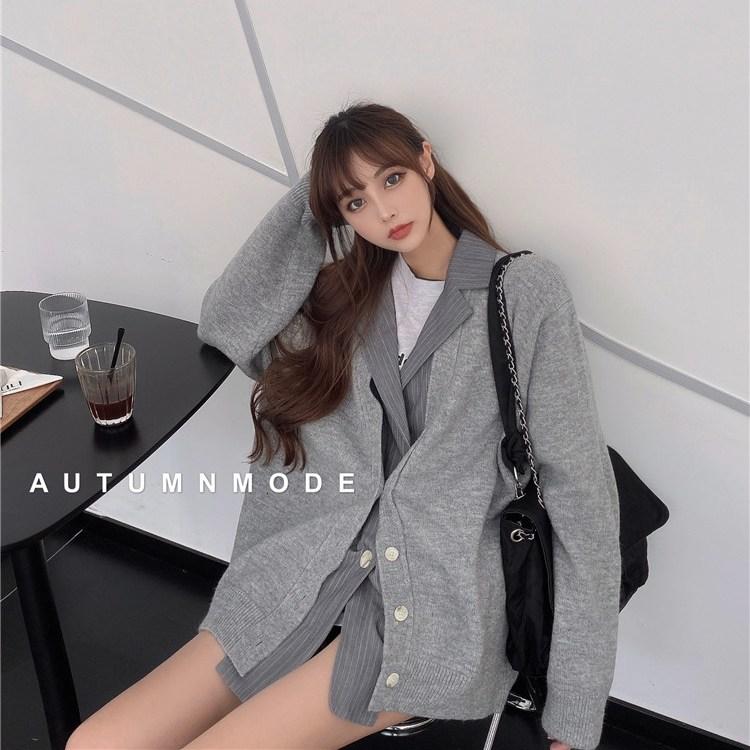 假两件西装外套女春秋2021新款宽松针织拼接设计感中长款开衫上衣