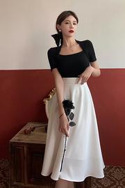白色半身裙女夏季薄款高腰赫本风伞裙法式A字裙雪纺中长款裙子潮