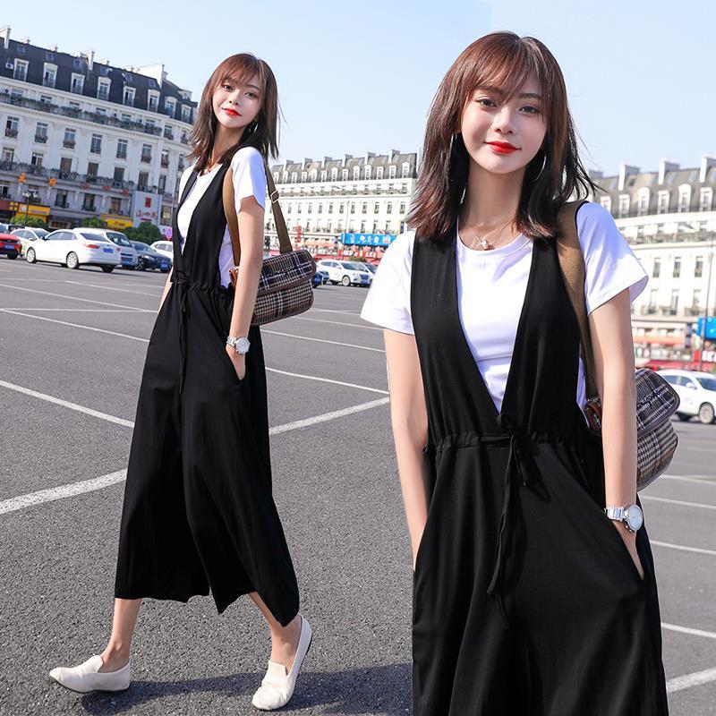 大码女装夏季两件套装2020新款背带裤减龄显瘦洋气遮肉阔腿裤套装
