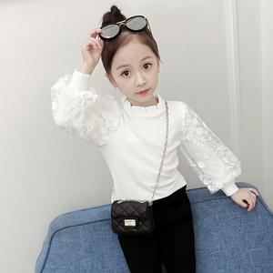 女童秋冬上衣2021新款洋气儿童公主泡泡袖打底衫加绒白色长袖T恤