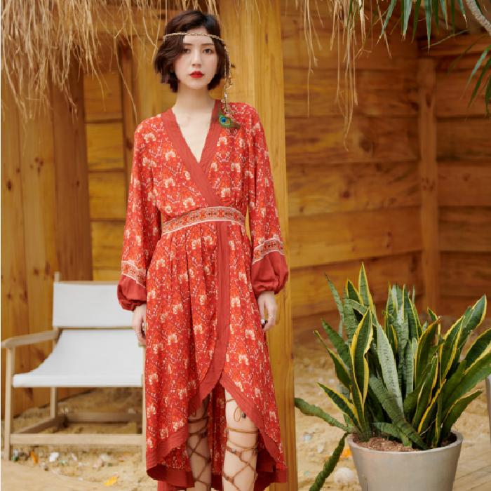 沙滩度假裙波西米亚连衣裙女西藏旅行女装旅游长裙夏沙漠拍照衣服券后98.00元