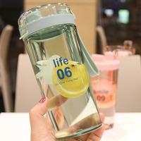 韩国创意情侣塑料杯户外随手杯子学生日式简约摇摇杯防漏喝水杯子