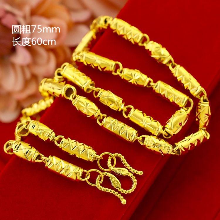 香港マカオの金のネックレスの男性の金の硬い金の中空の竹節の円柱のオリーブの車のネックレスの999足の金のヒョウの指輪