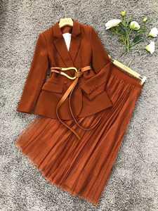 新款連衣裙,冷淡風炸街西裝套裝女氣質御姐網紗裙半身裙兩件套