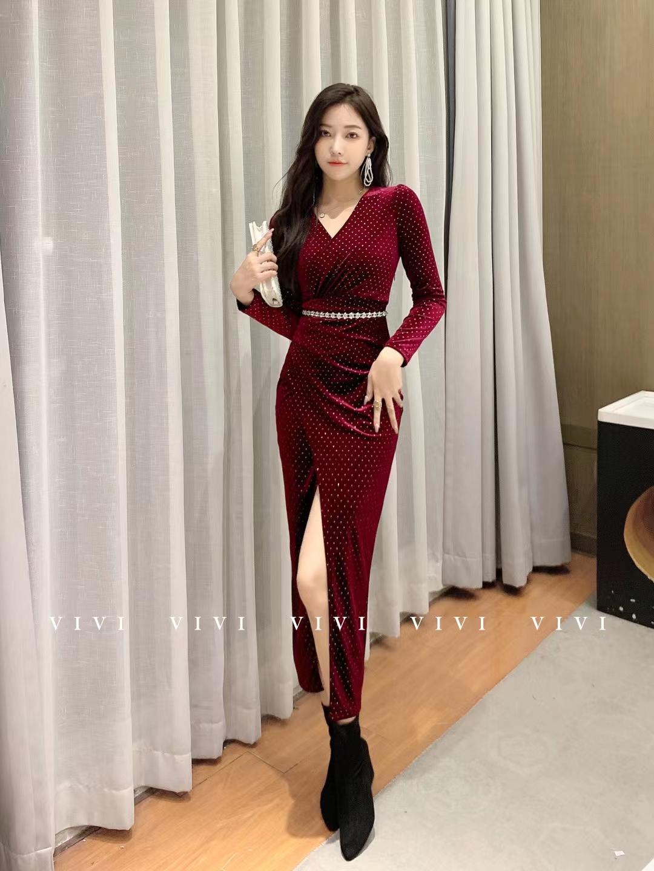 爆款名媛絲絨裙 (腰帶可配可不配)黑色 紅色 綠色 M L XL XXL