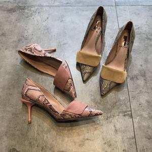 高跟鞋 细跟 性感蛇纹尖头鞋韩版优雅气质仙女网红方式少女鞋单鞋