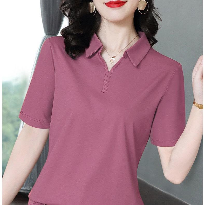 95纯棉短袖T恤女宽松夏季20新款潮显瘦POLO领时尚上衣打底衫女士