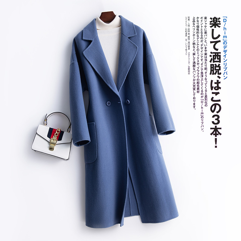 Autumn and winter 2019 new suit collar double-sided velvet coat pure wool womens medium and long Korean wool coat woolen jacket