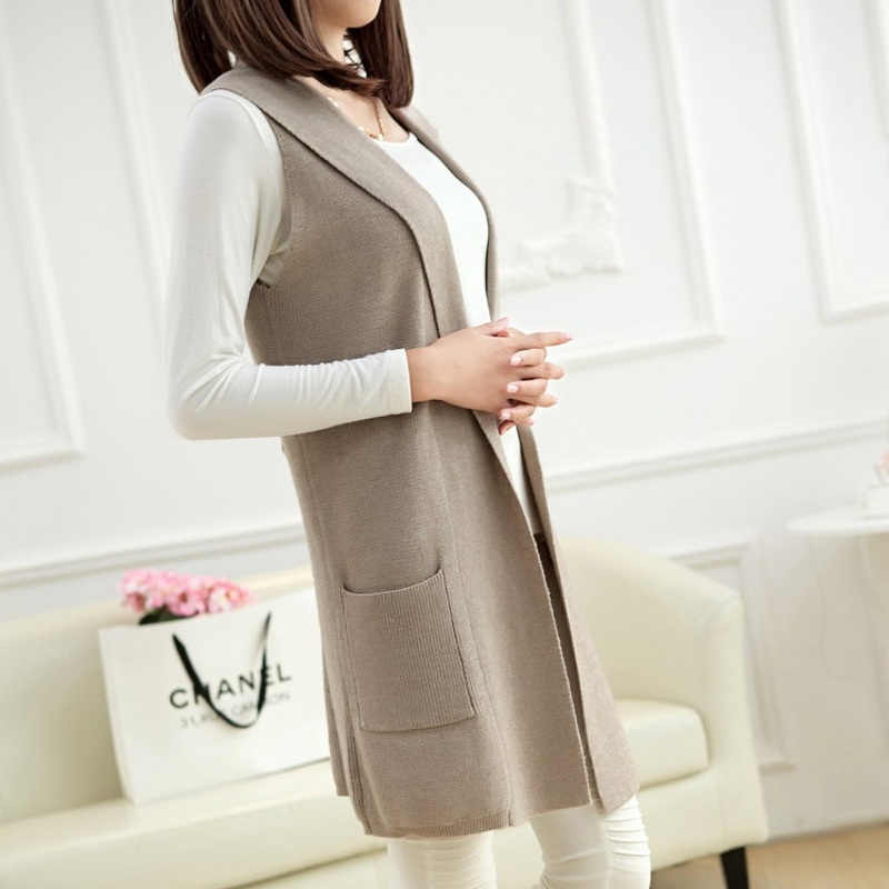 Spring and autumn Korean Edition knitted cashmere vest womens middle long jacket loose large womens coat sleeveless hooded cardigan