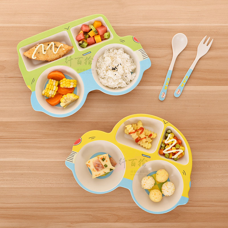 Children s tableware dividing plate cartoon baby auxiliary food bowl dividing tableware set bamboo fiber car plate kindergarten