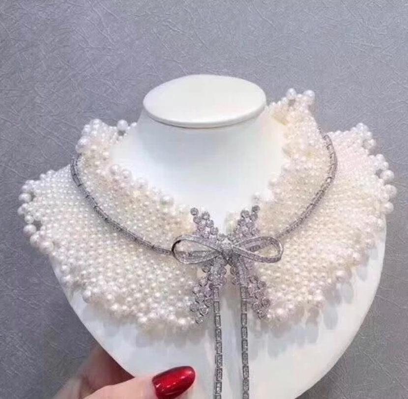 热巴同款珍珠项链重工纯手工编织蕾丝领颈链围脖婚礼珍珠配饰