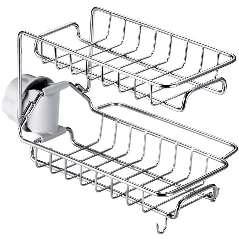 不锈钢水龙头置物架厨房神器家用洗碗海绵水槽沥水挂篮抹布收纳架