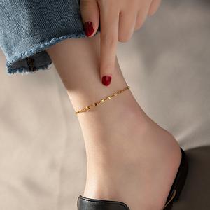 脚链女2021新款潮18k金网红款脚链钛钢玫瑰金仙气ins简约不掉色细