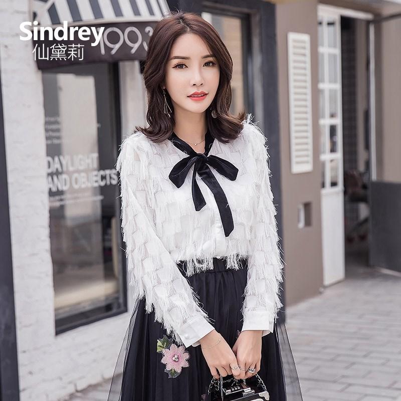 仙黛莉2017春季新款韩版女装流苏衬衣长袖修身白色雪纺上衣打底衫