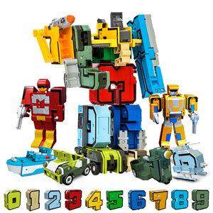 新乐新数字变形玩具0-9 汽车机器人男孩字母恐龙金刚战队拼装益智