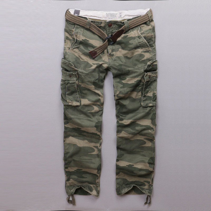 Camouflage pants mens pure cotton mens pants multi bag pants outdoor field suit special forces American casual pants with belt