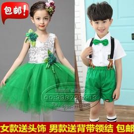 六一儿童节演出服装女少儿舞台舞蹈剧蓬蓬公主裙花童婚纱礼服绿色图片