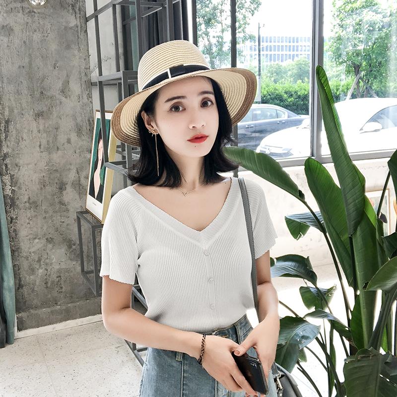 2018夏季新款冰丝针织衫女短袖紧身显瘦chic港味复古V领短款上衣