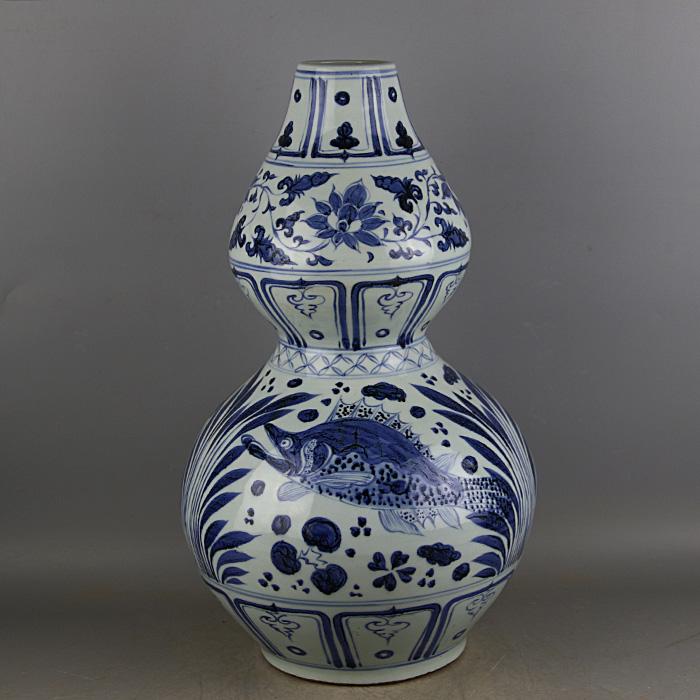 元青花手工绘画鱼藻纹葫芦瓶 仿出土官窑古瓷器 古玩古董收藏摆件