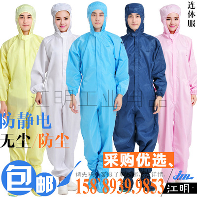 QCFH anti-static hooded coveralls whole body white workshop dust-free protection male clean spray paint sand therapy overalls