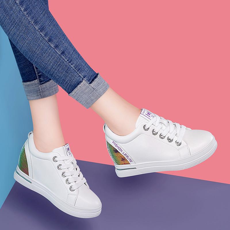 内增高女鞋夏季新款2019百搭厚底松糕运动鞋休闲小白鞋女板鞋