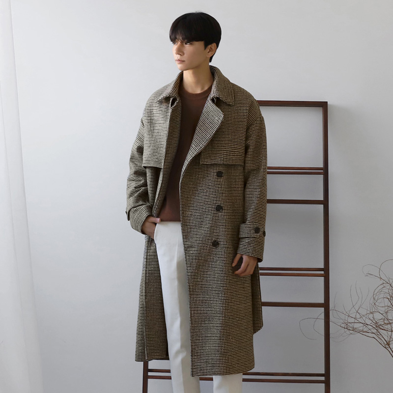 Korean version of thousand bird grid wide woolen fur coat for mens medium and long woollen sweater coat British style youth trend