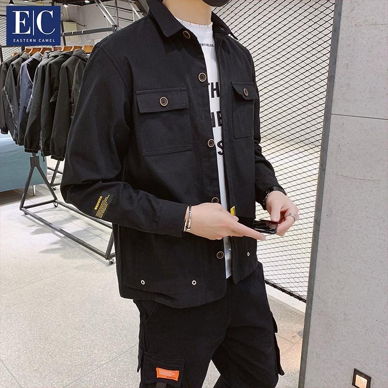 男士外套春秋季2019新款韩版潮流衬衫牛仔工装外套男上衣服冬夹克