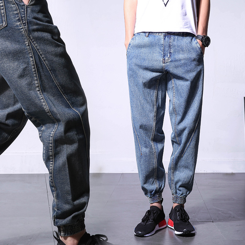 Harlem jeans mens loose hem stitching fashion mouth Japanese Harem Pants nine point small foot radish pants micro elastic