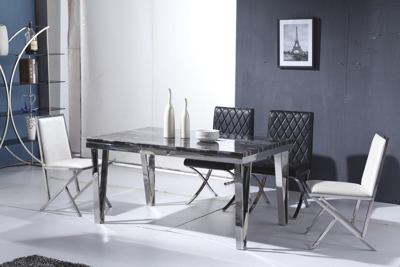 时尚简约不锈钢大理石餐桌 秒杀特价餐桌椅组合长方形餐桌可定做