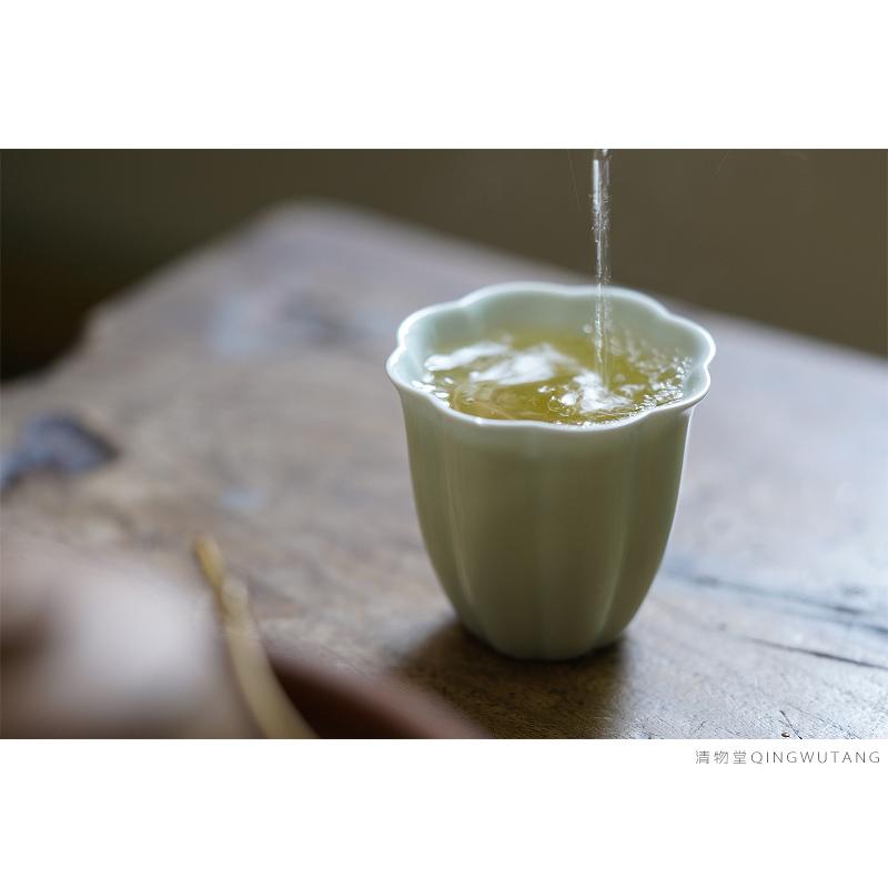 清物堂 柴窑菊瓣型青釉闻香杯 温润如玉 简易素雅茶杯茶席搭配