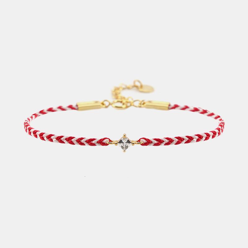 THISNESS 幸运手链 菱形白锆石红白双色编织手链潮流叠戴手绳礼物