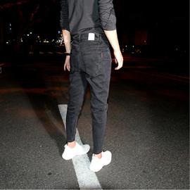 黑灰色简约修身小脚牛仔裤男青年潮流百搭九分裤2020秋冬铅笔裤子