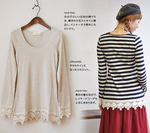 w closet wears inc lace cotton striped long sleeved shirt