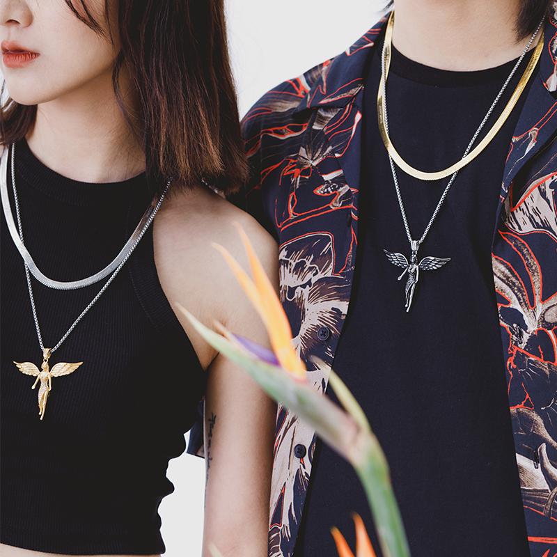 Roadlative Guochao original design new product angel wing cross titanium steel tide girl couple necklace man