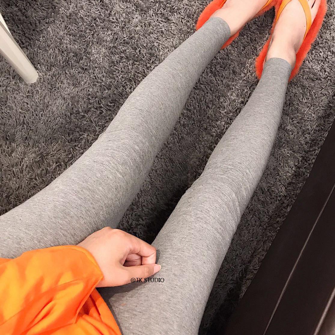 2018秋冬新款弹力紧身显瘦浅灰色高腰打底裤女外穿百搭小脚九分裤