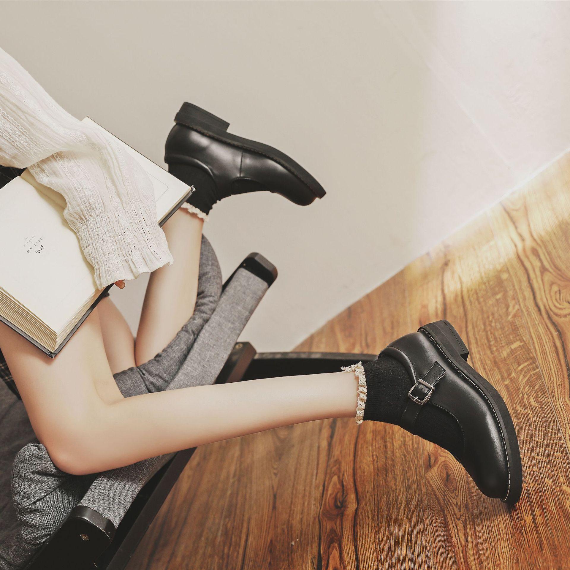 仙女jk制服小皮鞋女洛丽塔一字扣百搭圆头玛丽珍鞋日系文艺女鞋夏
