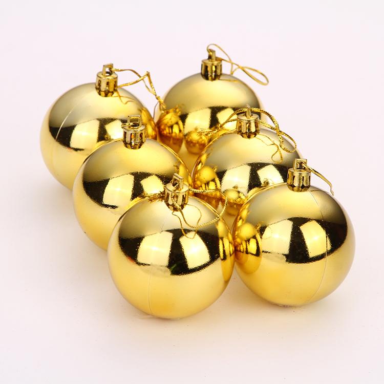 圣诞树装饰品电镀球塑料球圣诞彩球金球6cm圣诞球圣诞节