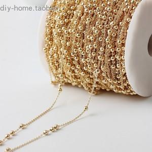 保色饰品配件 铜镀真金链子18K金豆豆链不褪色链条 diy手链材料