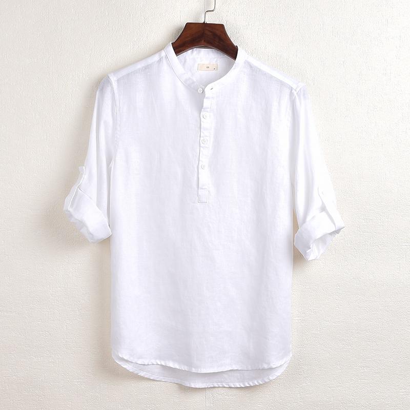 简约薄款色织亚麻七分袖男士立领休闲棉麻衬衫青年宽松半开襟短袖