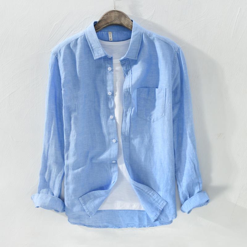 Spring Linen Shirt Mens long sleeve business casual square neck Cotton Linen Shirt Youth pocket thin Linen Shirt