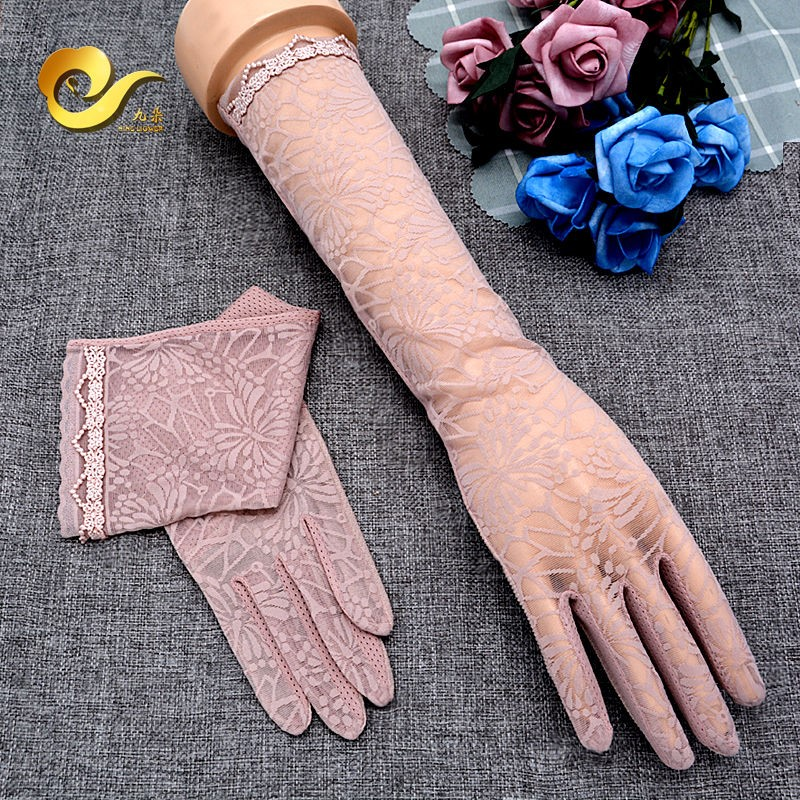 Sunscreen sleeve without leakage fingers summer driving sun proof gloves long arm protection thin womens touch screen anti slip lace