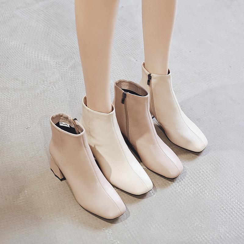 小红人方头短靴女春秋单靴粗跟冬季加绒靴子女2019新款英伦风高跟